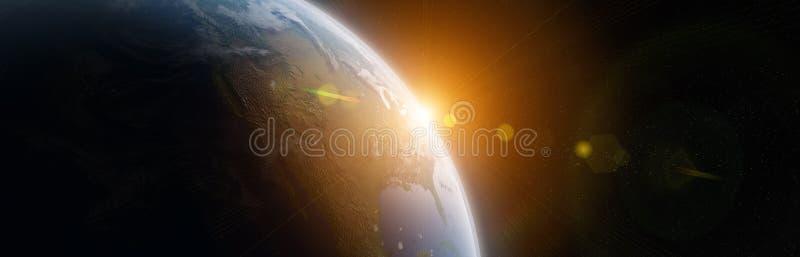 Sikten av bl? planetjord i utrymme 3D som framf?r best?ndsdelar av denna bild, m?blerade vid NASA royaltyfri illustrationer