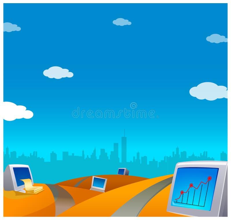 Sikten av datorer royaltyfri illustrationer