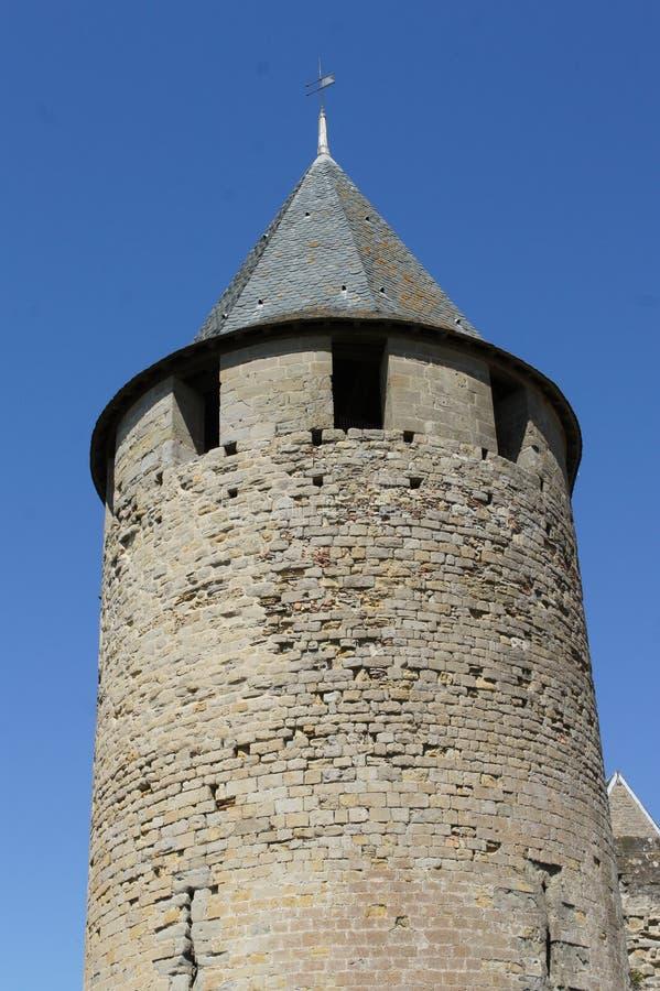 Sikten av den carcassonne slotten håller, croix på överkanten royaltyfri fotografi
