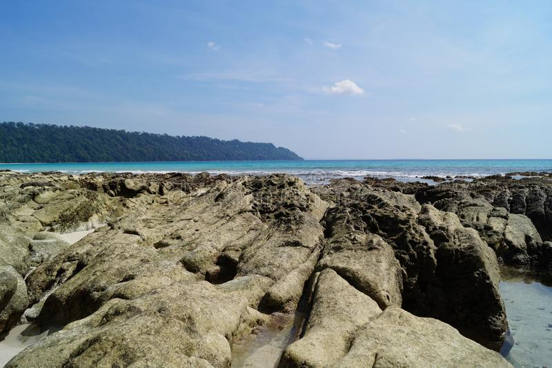 Sikten av det indiska havet från Andaman öar arkivbild