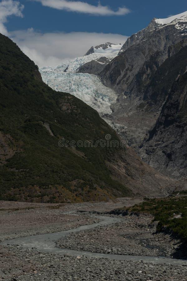 Sikten av Franz Josef Glacier lokaliserade från Westland Tai Poutini Na arkivbilder