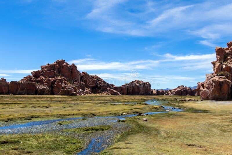 Sikten av Lagunaen Negra, den svarta lagunkanjonen med unikt geologiskt vaggar bildande i Altiplano, Bolivia fotografering för bildbyråer