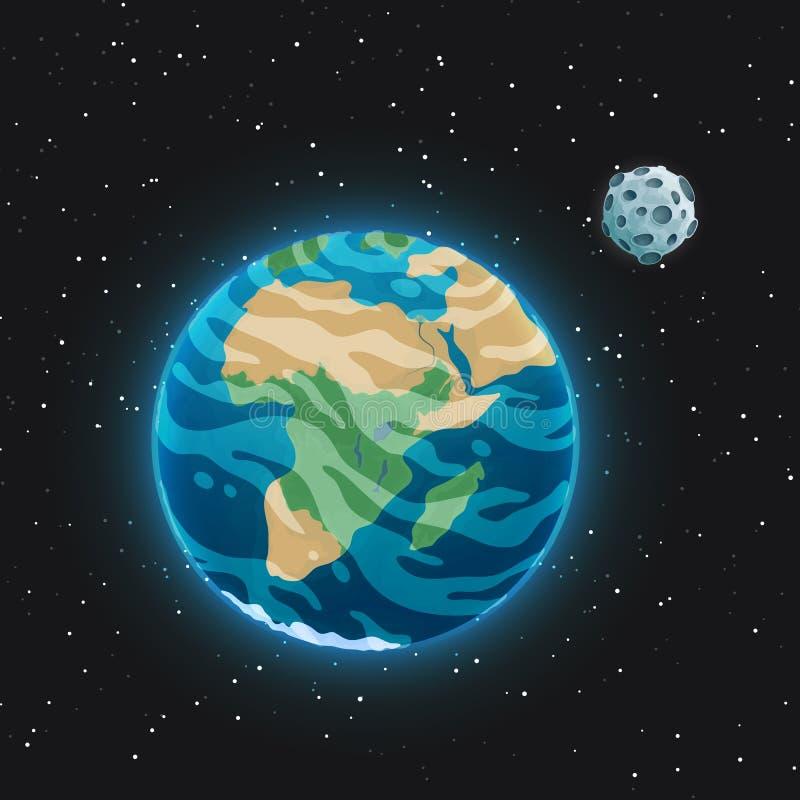 Sikten av planetjorden och den är satellit- månen från utrymme Glödande blå sfär med hav, kontinenter och moln i royaltyfri illustrationer