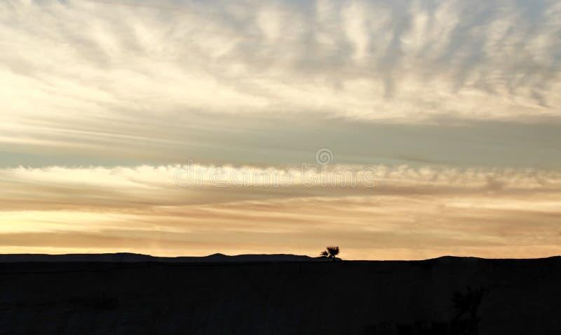 Sikten för öhavshimmel med gömma i handflatan och härliga berg på bakgrundshorisonten i solnedgångtiden Härlig pittoresk landsca royaltyfri foto