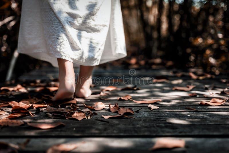 Sikten för den låga vinkeln av den härliga mystiska kvinnan i den vita klänningen går royaltyfria bilder