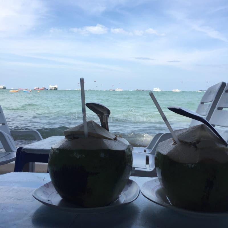 Sikten för himmel för kokosnötstrandhavet kopplar av skedpattaya klar fruktsaft royaltyfria foton