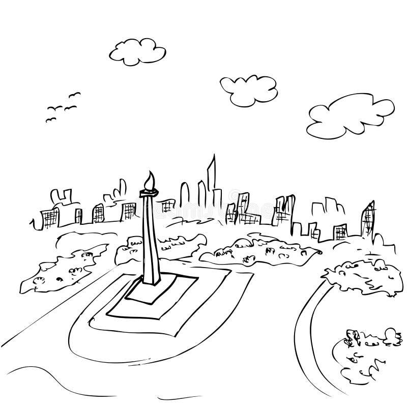 Sikten från bästa enkelt skissar av monas, jakarta indonesia huvudstadssymbol och annan byggnad på genomskinlig effektbakgrund stock illustrationer
