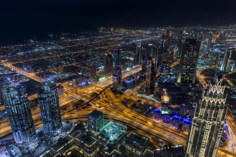 Sikten från Burj Khalifa Dubai fotografering för bildbyråer