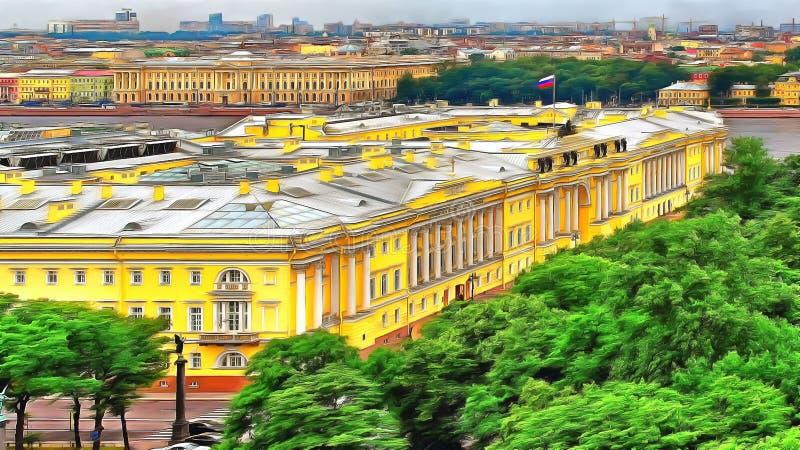 Sikten från höjden i mitten av St Petersburg arkivbilder