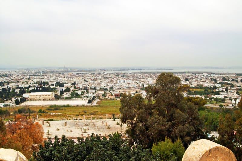 Sikten från helgonet Louis Cathedral av Carthage fördärvar, Tunisien royaltyfri foto