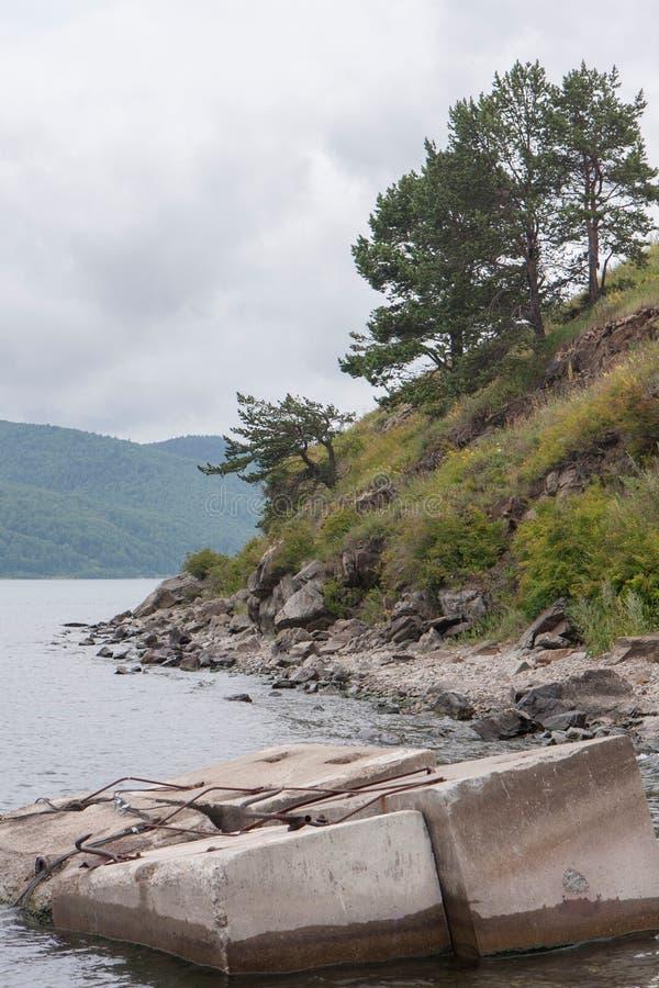 Sikten från kusten av Lake Baikal royaltyfri bild