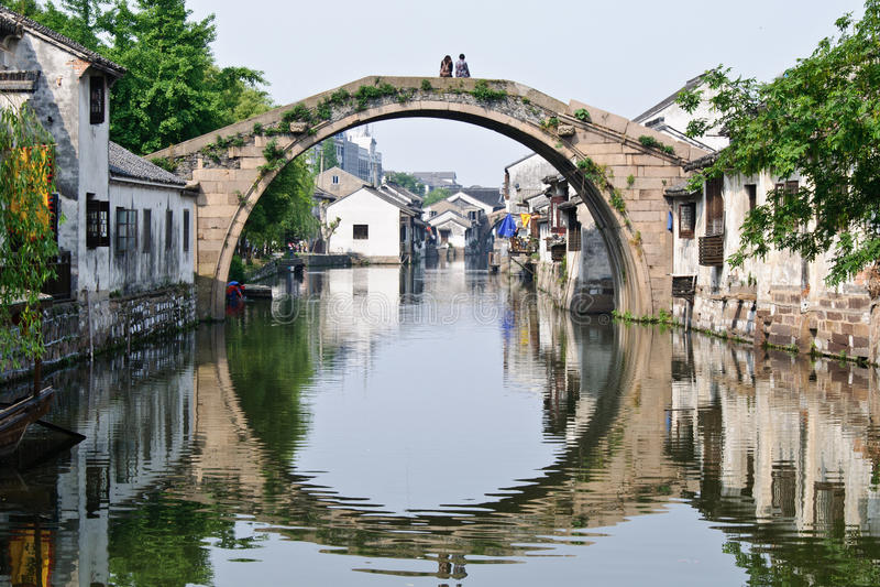Sikten i en kinesisk traditionell stad arkivfoto