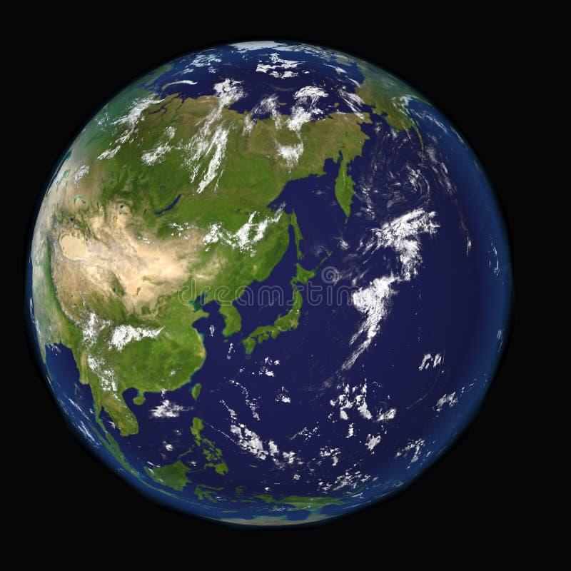 Sikten på jord centrerade på Japan beståndsdelar av denna bild som 3d möblerades av NASA stock illustrationer