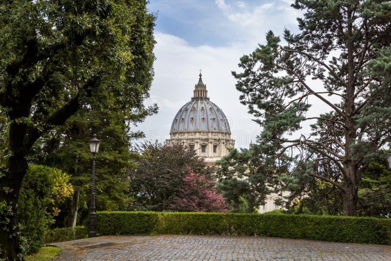 Sikten på St Peter ` s Basilika Basilika di San Pietro från Vaticanenträdgårdar med med sörjer och stenlade banor, Rome, Italien royaltyfria bilder