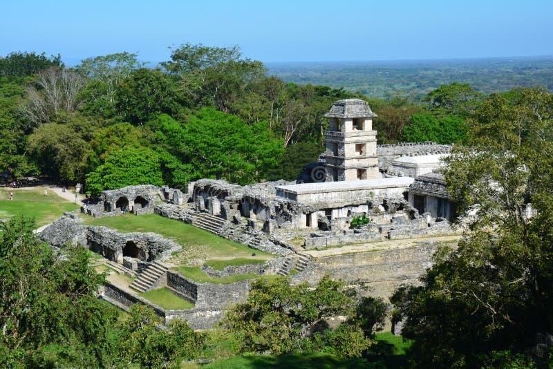Sikten Palenque fördärvar Chiapas Mexico arkivfoton