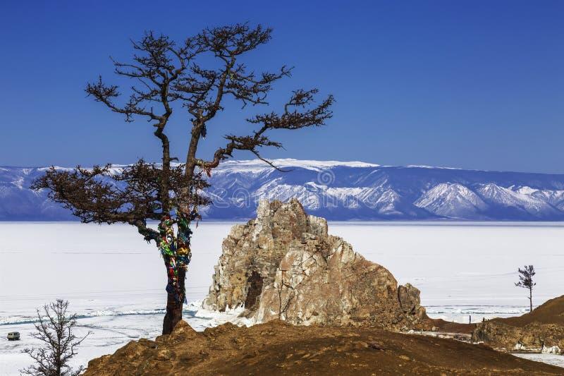Sikten till Shamankaen vaggar och ett önskande träd på udde Burhan av den Olkhon ön på Lake Baikal Irkutsk region arkivfoto