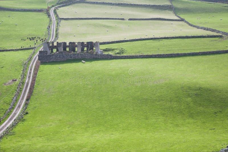Sikter över fördärvar i ett grönt fält från Torrhuvudet i nordligt - Irland arkivfoton