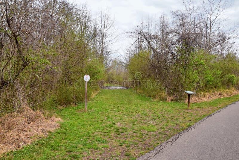 Sikter av broar och banor l?ngs Shelby Bottoms Greenway och de naturliga slingorna f?r omr?desCumberland River fasad, bottomland  royaltyfri foto