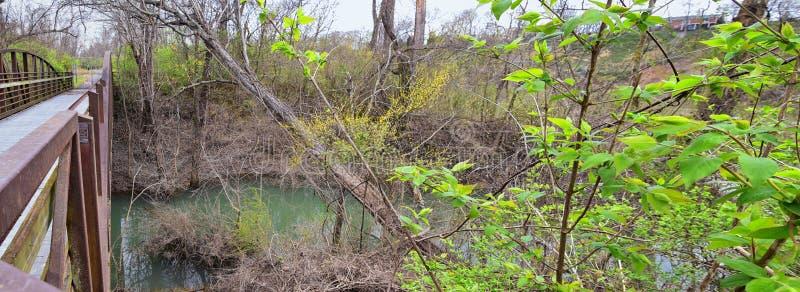 Sikter av broar och banor l?ngs Shelby Bottoms Greenway och de naturliga slingorna f?r omr?desCumberland River fasad, bottomland  arkivbild