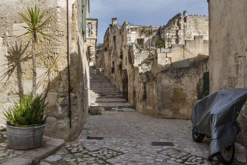 Sikter av den Matera staden arkivbild