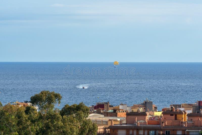 Sikter av den spanska semesterortstaden av Lloret de Mar, Costa Brava, Catalonia, Spanien arkivbilder