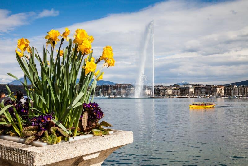 Sikter av Genève på April 11, 2015 royaltyfria foton
