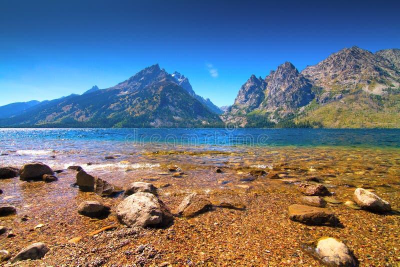 Sikter av Jennyen och Jackson Lakes i den storslagna Teton nationalparken, Wyoming royaltyfria foton