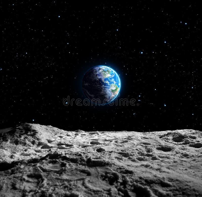Sikter av jord från månen stock illustrationer