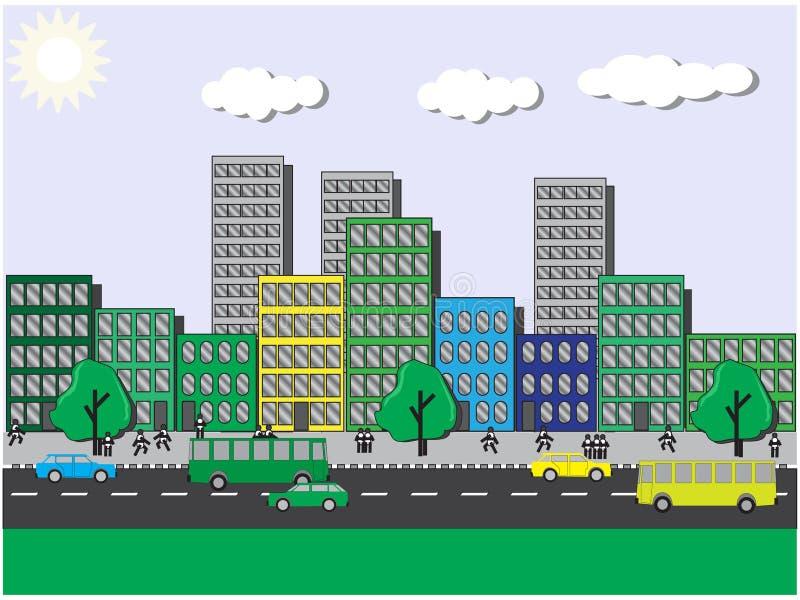 Sikter för ‹för †för stadspå en solig dag vektor illustrationer