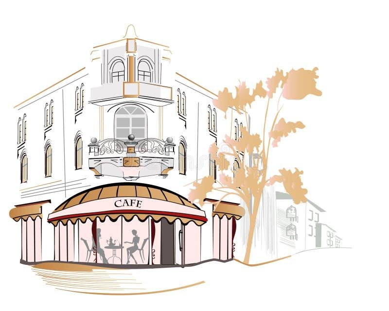sikter för cafesstadsett slags tvåsittssoffa vektor illustrationer