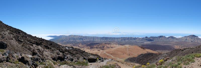 Sikter från panorama för landskap för bergöverkant vulkanisk royaltyfri fotografi