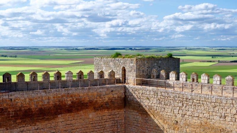 Sikter från slotten av Montealegre de Campos, Valladolid, Spanien arkivfoton