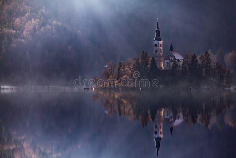 Siktsö med katolska kyrkan i den blödde sjön Bled är en av de mest fantastiska turist- dragningarna i Slovenien BegreppsvinterLAN royaltyfri fotografi