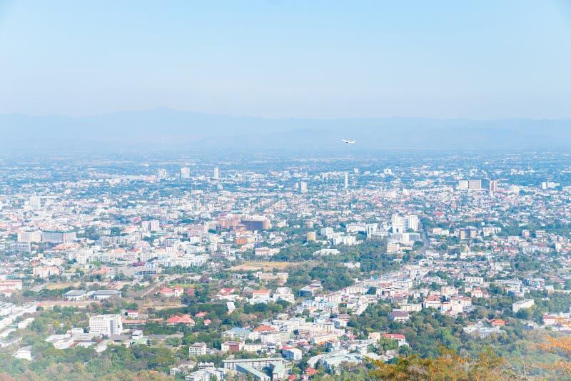 SiktsChiang Mai stad från Doi Suthep Mountain royaltyfria foton