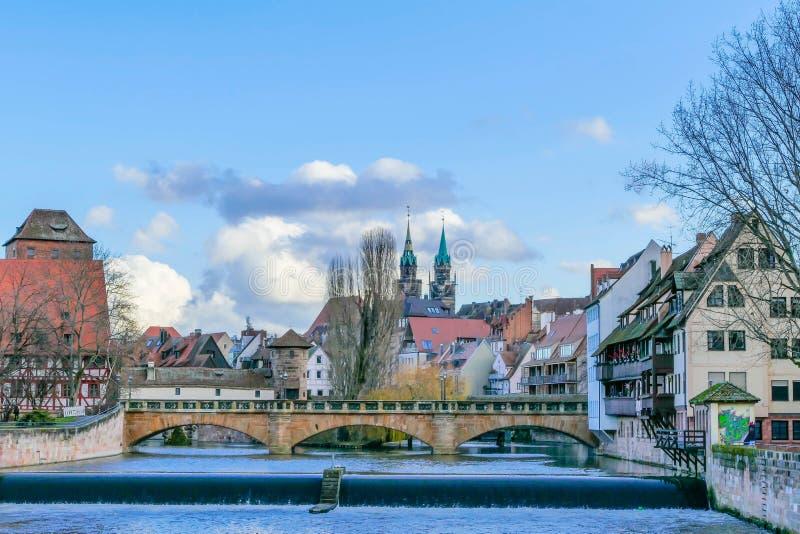 SiktsCityscape Nuremberg royaltyfri foto