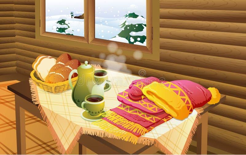 siktsfönstervinter stock illustrationer