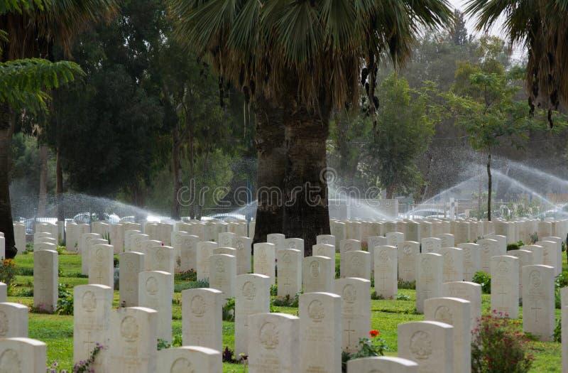 Silêncio Cemitério WW das soldas de Ingleses mim Cemitério da guerra de Sheba da cerveja de soldas britânicas imagens de stock