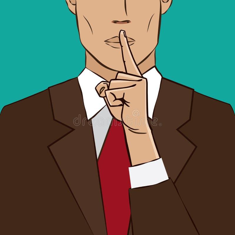 Silêncio do sinal da mão ilustração do vetor