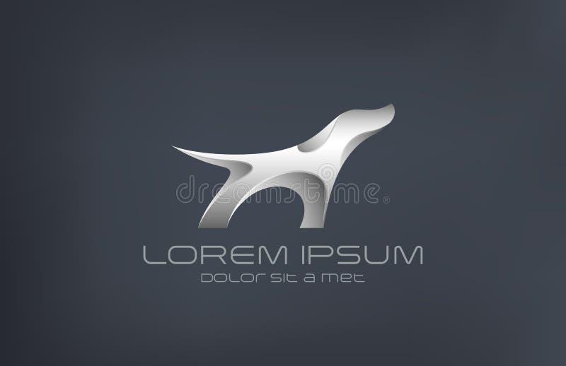 Sil för abstrakt begrepp för metall för Logo Fashion lyxig smyckenhund vektor illustrationer