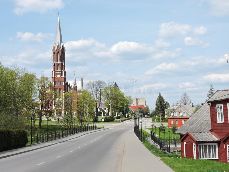 Silale town, Lithuania. St. Francis Assisi church and old homes in Silale town, Lithuania stock photos