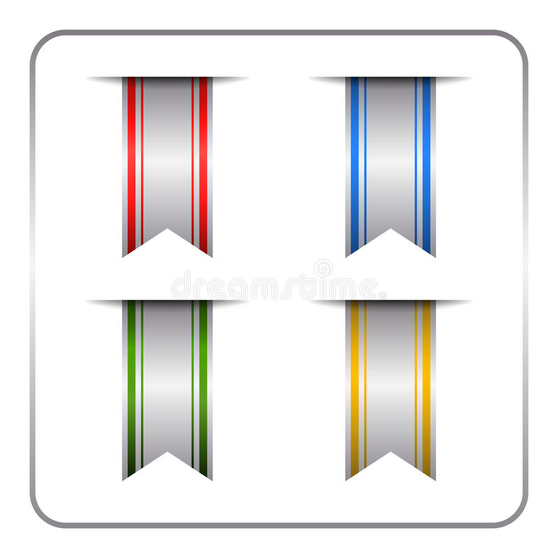 Silber farbiger Bookmarksatz vektor abbildung