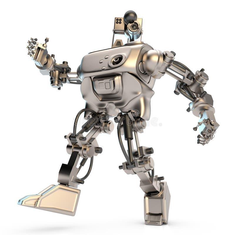 Silber-farbiger humanoid Roboter stock abbildung