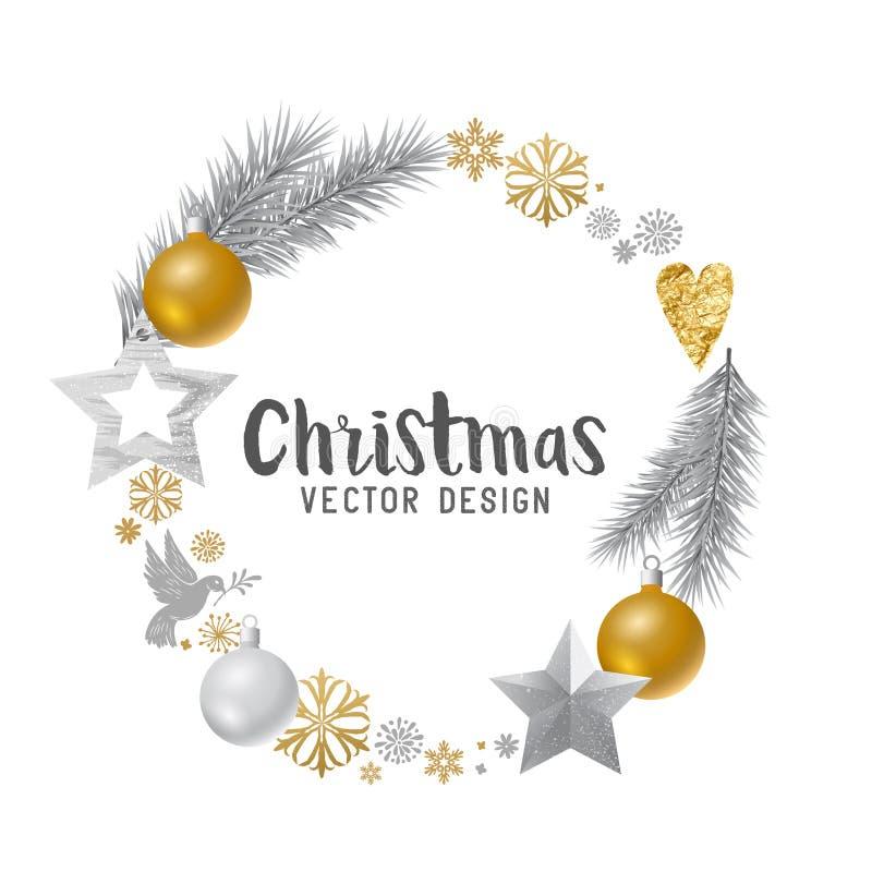 Silber und Gold verzierter Weihnachtskranz lizenzfreie abbildung