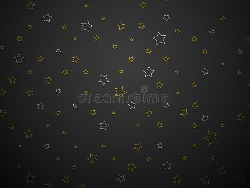 Silber- und Goldsterne auf schwarzem Hintergrund lizenzfreie abbildung