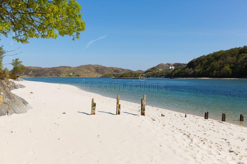 Silber versandet Strände Schottland Großbritannien dieses an schönen sandigen Stränden Morar auf der schottischen Westküste lizenzfreie stockfotos