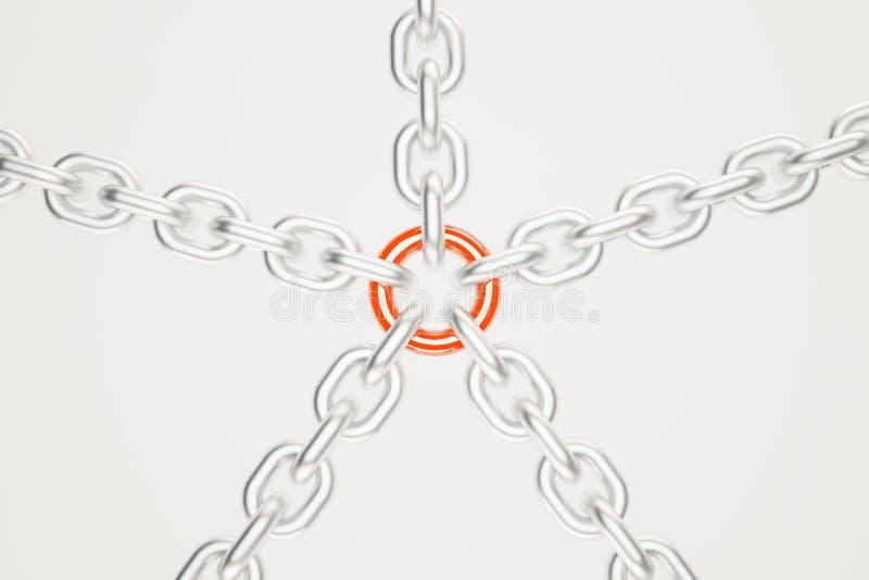 Silberketten mit rotem Link lizenzfreie abbildung