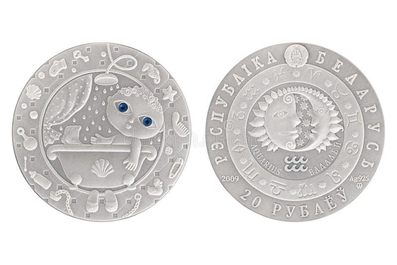 Silbermünze Wassermann-Weißrusslands lizenzfreie stockfotografie