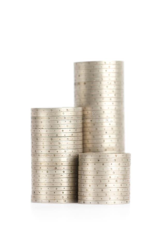 Silbermünzen sind oben vertikal in den Spalten stockbild