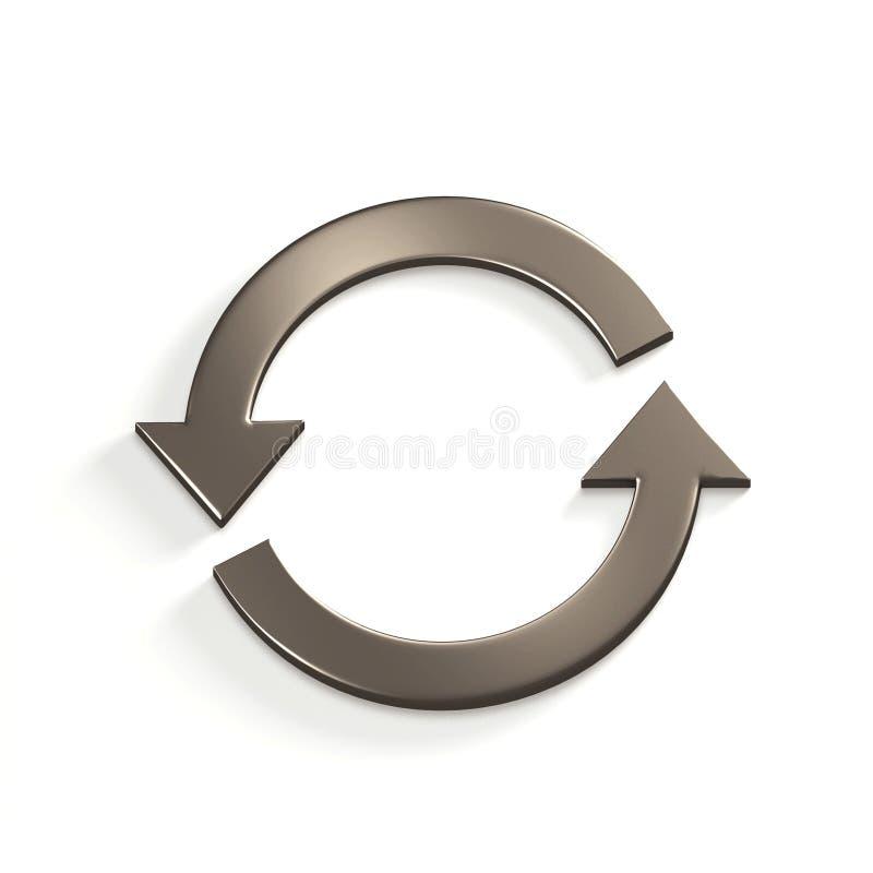 Silberne aufbereitende Kreispfeile gold 3d übertragen Abbildung stock abbildung