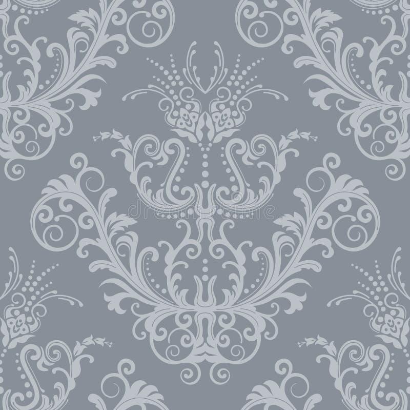 Silberne Blumenweinleseluxuxtapete stock abbildung